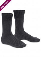 6 Paar Herren Socken mit Frotteesohle Grau
