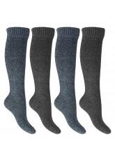 Footstar Herren Kniestrümpfe (4 Paar) Thermo-Effekt - Blau-Grau