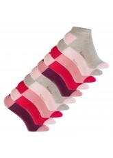 Footstar Kinder Baumwoll Sneaker Socken (10 Paar) mit abgesetzter Ferse und Spitze - Berry