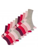 Footstar Kinder Baumwoll Socken (10 Paar) mit abgesetzter Ferse und Spitze - Berry