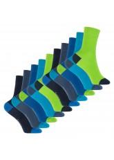 Footstar Kinder Baumwoll Socken (10 Paar) mit abgesetzter Ferse und Spitze - Carribean