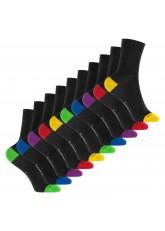 Footstar Kinder Baumwoll Socken (10 Paar) mit abgesetzter Ferse und Spitze - Funfarben
