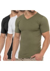 Celodoro Herren Business T-Shirt V-Neck (3er Pack) - Olive Weiß Schwarz