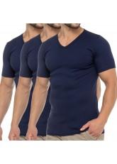 Celodoro Herren Business T-Shirt V-Neck (3er Pack) - Marine