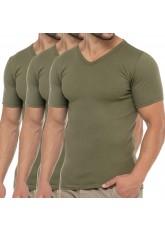 Celodoro Herren Business T-Shirt V-Neck (3er Pack) - Olive