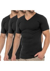 Celodoro Herren Business T-Shirt V-Neck (3er Pack) - Schwarz