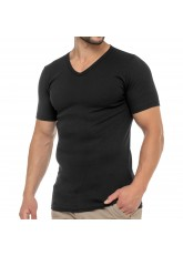 Celodoro Herren Business T-Shirt V-Neck (1 Stück) - Schwarz