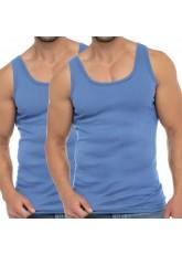 Celodoro Herren Business Tank Top (2er Pack), Achselhemd aus Baumwolle - Carolina Blue