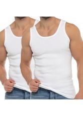 Celodoro Herren Business Tank Top (2er Pack), Achselhemd aus Baumwolle - Weiß