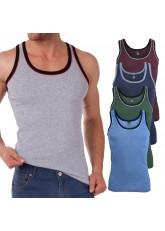 MT Herren Melange Tank Top (5er Pack), Baumwoll Feinripp Unterhemd ohne Arm - Mix mit Grün und Rot