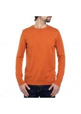 Celodoro Herren Rundhals Pullover, Baumwollstrick, Regular Fit - Burnt Mandarin