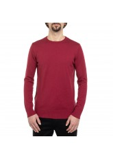 Celodoro Herren Rundhals Pullover, Baumwollstrick, Regular Fit - Cardinal Red