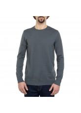 Celodoro Herren Rundhals Pullover, Baumwollstrick, Regular Fit - Gun Metal Grey
