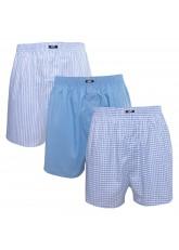 MT Herren Web Boxershorts (3er Pack) American Boxer gewebt aus Baumwolle - Blau