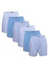 MT Herren Web Boxershorts (6er Pack) American Boxer gewebt aus Baumwolle - Blau