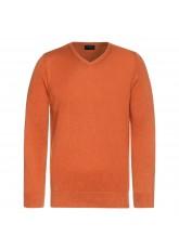 Celodoro Herren V-Neck Pullover, Longsleeve aus Baumwolle, Regular Fit - Burnt Orange