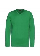 Celodoro Herren V-Neck Pullover, Longsleeve aus Baumwolle, Regular Fit - Grün