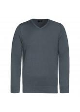 Celodoro Herren V-Neck Pullover, Longsleeve aus Baumwolle, Regular Fit - Grau