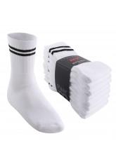8 Paar MT® Sport- und Freizeitsocken Weiß mit schwarzen Streifen