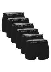 Gomati Herren Cotton Pants mit Logo (6er Pack), Retro Boxershorts aus Baumwoll-Stretch - Pure Black