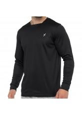 CFLEX Herren Fitness Shirt Langarm, Sporthemd Longsleeve, Quickdry Piqué - Schwarz