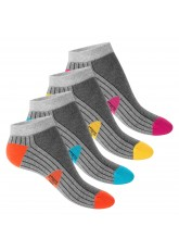 4 Paar Footstar STRESS FREE Sneaker Socken Grau-Bunt