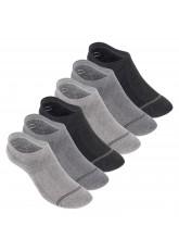 Footstar Damen und Herren Funktions Füßlinge (6 Paar) Unsichtbar mit Frotteesohle - Grau-Mix