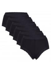 Celodoro Damen Taillenslip mit Spitze (6er Pack), Dessous Slip aus Microfaser - Schwarz