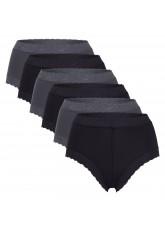 Celodoro Damen Taillenslip mit Spitze (6er Pack), Dessous Slip aus Microfaser - Anthrazit Schwarz
