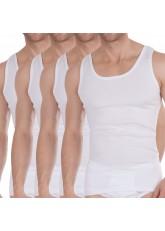 Celodoro Herren Bio Unterhemden (4er Pack ) Herren Feinripp Shirts ärmellos - Weiss