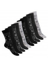 10 Paar süße Damen Socken - Black Mix