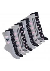 Celodoro Damen Motiv Socken (10 Paar), süße Söckchen aus Baumwolle - blau grau