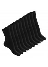 Footstar Damen Baumwollsocken (10 Paar), handgekettelte flache Spitze - Everyday! - Schwarz