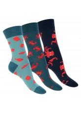 Footstar Damen & Herren Bunte Motiv Socken (3 Paar), Lustige Baumwoll Socken - Ocean