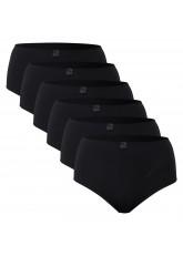 6er Pack Damen Microfaser Slip mit Spitze Schwarz