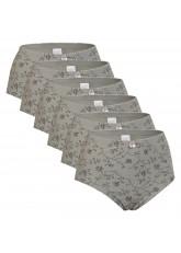 Celodoro Damen Taillenslip (6er Pack) Microfaser-Slip mit Blümchen-Muster - Grau