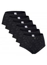 Celodoro Damen Taillenslip (6er Pack) Microfaser-Slip mit Blümchen-Muster - Schwarz