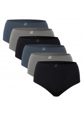 6er Pack Damen Microfaser Slip mit Spitze - City Mix - Grau Schwarz Anthra