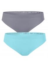 2er Pack Damen Slip Seamless ohne Naht - hellblau-grau
