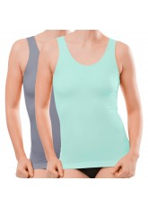 2er Pack Damen-Tank-Top - seamless - mint & grau