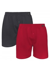 2er Pack Herren Single Jersey Boxershorts 1x Anthrazit + 1x Deep Red