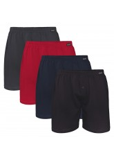 4er Pack Herren Single Jersey Boxershorts 4farb-Mix (Schwarz, Anthrazit, Deep Red, Deep Navy)
