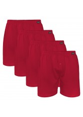 Gomati Herren Jersey Boxershorts (4 Stück) Stretch Unterhose aus Baumwolle - Deepred