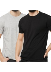 2er Pack Basic Herren T-Shirt aus Baumwolle mit Rundhals - schwarz-grau-mix
