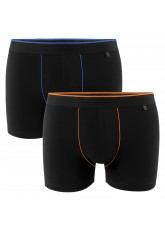 2er Pack Gomati Herren Retro Pants - schwarz-blau/ schwarz-orange