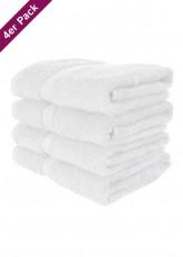 4 weiche Frottee Handtücher 50x90 von TERRYLAND Bright White