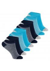 Footstar - 8 Paar Kinder Sneaker-Socken - blau geringelt