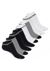 Footstar Damen Motiv Sneaker Socken (8 Paar), Kurze süße Söckchen mit Mustern - Schwarz-Weiß-Mix