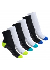 Footstar Damen & Herren Fitness Kurzschaft Socken (6 Paar) - Schwarz-Weiß-Mix