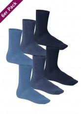 6 Paar Footstar Komfort Premium Socken Frotteesohle jeans blau